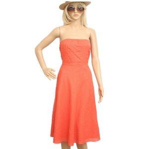 J. Crew Coral Orange Strapless Midi Dress Sz 6